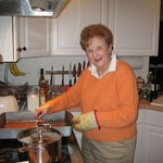 Makng  turkey gravy. at Megan's. Christmas 2005.