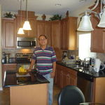 Vic loved to cook in our kitchen.
