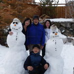 Making snowmen with Kelle, Kevin, and Arlene