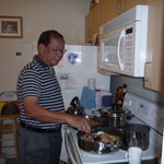 Vic really enjoyed cooking, here at my sisters' apartment in Pasadena, CA, 10/16/2009