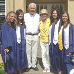 2007- Leah's HS graduation. Grandpa  loved to be surrounded by pretty girls!