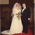 Our wedding on February 11, 1983, at First Presbyterian Church of St Louis, MO -- One of the warmest Feb.s in St Louis history, by the way.  Bill looked wonderful in his tux... a handsome penguin, I thought... And so our collection of Penguins began!!!