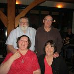Here we all are, Roy & Ellie (Bill's brother & sister-in-law) and Bill & me out to dinner in mid-Oct 2012.  This is the fish restaurant in Ft W (Paula's) that Bill raved about & wanted to share with our guests!