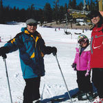 "Albert teaching the ""Art of Ski"" to granddaughter Lauren, with eldest son Nolan in supervision."