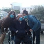 Me, Grandpa, and Momma messing around at the hospital. <3