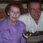 Jean with Bob Leonard celebrating their birthdays at Papapavlos