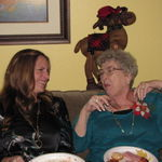 Janine and Joyce sharing a laugh on Christmas Eve 2012