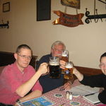 Cheers!  Beer with Dad at the Hofbrauhaus, Munich. 2008.