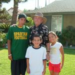 Grandpa (looking great) with his great-grandkids a few years ago.