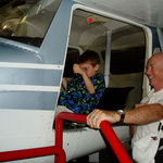 Looking at a plane with Grandson, Dan, Washington, D.C. 2003
