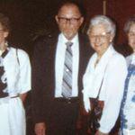 "Elwyn with the three ""Gunderson Girls"" ... Bernice, Janet, and Gladys."