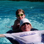 Relaxing with Katie in the pool. (Notice the t-shirt!)
