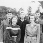 Charlie, Harold & Harry with Helen & Mary in California.  All three of my grandparents' children served in WWII at the same time.