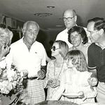Visiting with his family in the 1970's. With Stanley and Dorothy (his mother and father), Carol and Wade Miller (his sister and brother-in-law), and his then wife, Bente, and daughter, Kristina.
