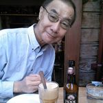 Jerry enjoying a root beer float in San Francisco one sunny afternoon in early January.