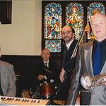 Walter Hartel, Bob Christman, Tom Petrakes, and Paul, St. John's Episcopal Church, Newtonville, 2006 or 2007. Photo by Karyn Barry.