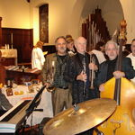 Walter Hartel, Jack Vasipoli, Paul and Dave Sousa, with other musicians and clergy at an All Saints service in 2006 or 2007, St. John's Episcopal Church in Newtonville, MA. Photo by Karyn Barry.