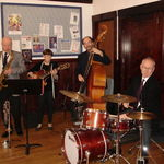 Paul, Leslie Stein, Tom Petrakes, and Bob Christman playing for Walter Hartel's memorial service, 28 February 2010. Photo by Karyn Barry.