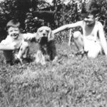 Paul, Jingles ,and brother John, at  Holohans in Bellows Falls,1947.
