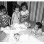Ronnie, cousins Barb, Sharon back row Tommy, Mickey & Denise 1951