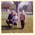 Village Green in Baldwin Hills, Easter 1965.  Larry Brink, Burt Brink (on the knee), and Steve Brink.