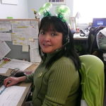 Kathy working at Essex Ob on St Patty's Day.She loved her job,especially working with the girls in the office!