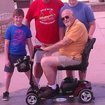 At Four Corners, one wheel in a different state.