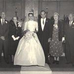 "Grandparents wedding picture.    Hugh Francis ""Chiefy"" McCarron, Minnie Bayley McCarron, Carolyn McCarron Brink, Larry Brink, Helen Dean Brink, PA (Percy Arthur) Brink"