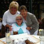 Rose, Kathy and good friend Mary Hall celebrating life Summer 2012.