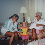 "Liz getting Grandma her ""heart medicine"".  Grandma holding Megan."