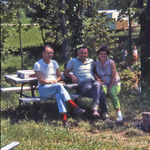 July 4th 1968 The stylish RED socked George with his best friends Bob & June Rubeck camping at Edgewood Lake, Greencastle, IN one of their families favorite get aways.
