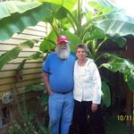 Terry and Vicky under Bryans Banana tree in Oregan