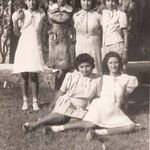 Nellie (3rd from Right) with her sister Ramona and their friends