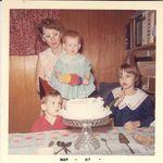 Connie's birthday cake with cousins, Joey & Debbie