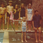 Cousins spending the day around the pool in the early '70s at the Large's house in Birmingham, Alabama.