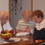 Elsie teaching sisters Peggy and Susie how to crochet while visiting in Pottsville, Pa. 2009