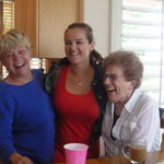 Mom with granddaughter, Dana, and her other grandma, Rhoda!  2012