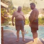 Grandpa and Uncle Ray comparing bellies. I loved when Uncle Ray and Aunt Gloria would roll on into Salt Lake in their RV. God Bless.