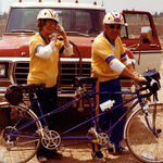 Helen & Collier on a bicycle built for two, 1980s