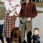 Rachel holding baby girl Dotty, Mac holding in dog Ricky and Robert L Jr. known as Roy  Kansas