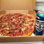 Dad's favorite meal, pizza and Old Milwaukee Beer. Celebrated the day of his passing with his wife Pat, and daughter's Bobbie and Patsy, and long family friend, Carol Johnson Carpenter.