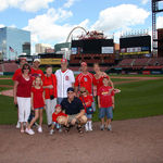 Bob and Norma touring the new stadium with their sons, Rich, Mike and Ron, and their families.