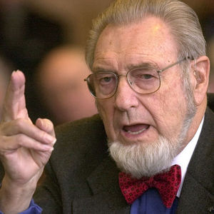 "In this Feb. 12, 2002 file photo, former U.S. Surgeon General, Dr. C. Everett Koop testifies in Concord, N.H. Calling it the ""forgotten epidemic,"" Koop urged Americans to end what he called complacency about AIDS and put the deadly disease back on the radar screen."