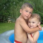 Two of Nannie's great grand kids; Dylan and Lyhla hugging in the pool July 2011. We had an amazing 4th of July with Nannie.