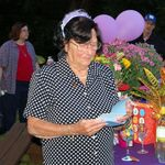 This is Aunt Sis at her 98th birthday party last August at Judy and her house. Linda and I are in the background!