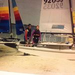 Bill and Bill Williamson ready for a Hobie Race