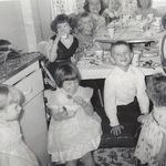 Birthday party, late 1950's, Clockwise: Mary Louise, me, Betty (unknown last name_, Connie Van Volkinburg, Sue Slenk, unknown, Carol Burton, unknown, Marsha Linda, Leon Beech and Linda Ellen at bottom right.