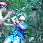 Zip lining in Belize with Tom Peters & Leila Frazer