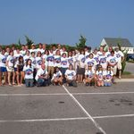 The group photo of all the t-shirts he made for us through his great kindness and talent