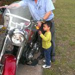 Bob showing Evan his Harley